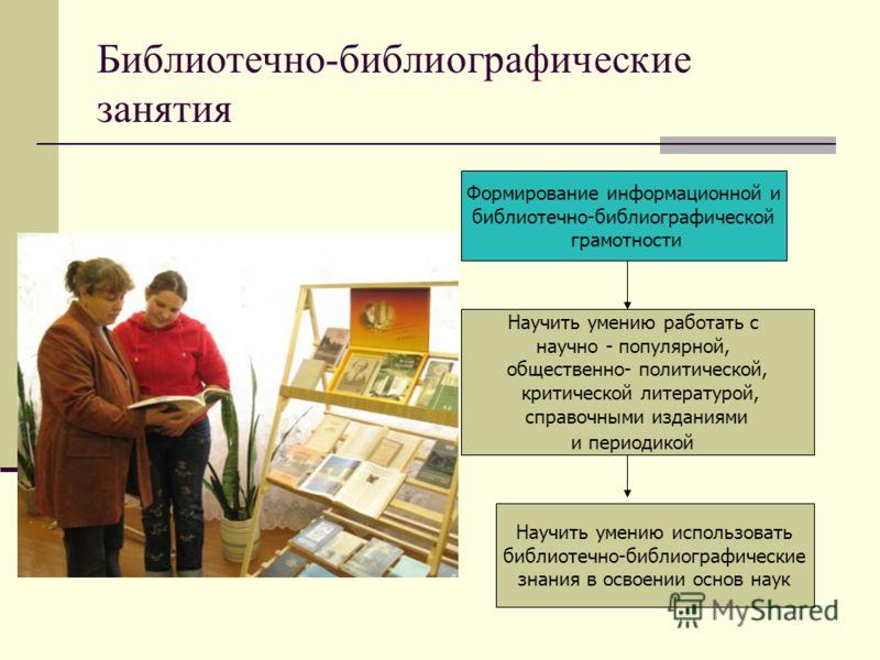 Библиотечно-библиографические занятия Формирование информационной и библиотечно-библиографической грамотности Научить умению работать с научно - популярной, общественно- политической, критической литературой, справочными изданиями и периодикой Научит