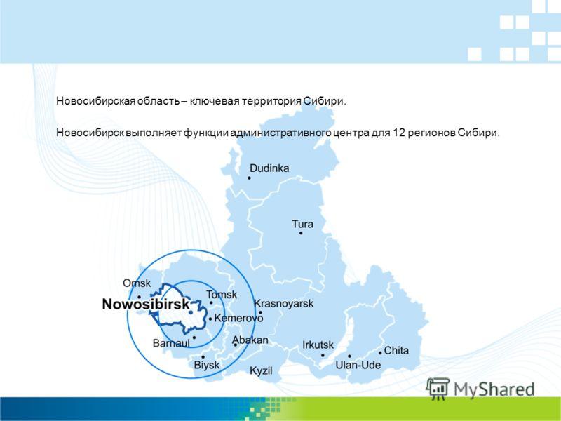 Новосибирская область – ключевая территория Сибири. Новосибирск выполняет функции административного центра для 12 регионов Сибири.