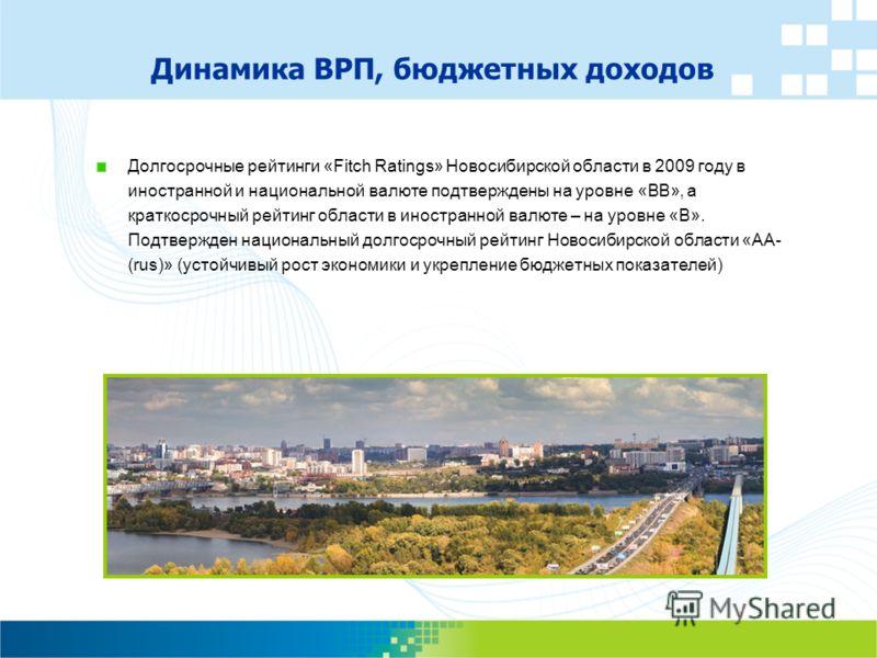 Динамика ВРП, бюджетных доходов Долгосрочные рейтинги «Fitch Ratings» Новосибирской области в 2009 году в иностранной и национальной валюте подтверждены на уровне «BB», а краткосрочный рейтинг области в иностранной валюте – на уровне «B». Подтвержден