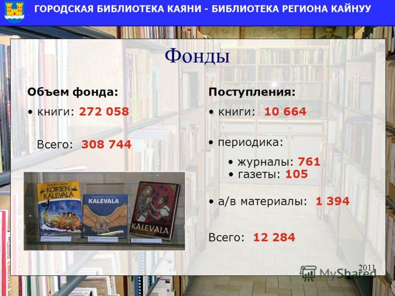 Фонды Поступления: книги: 10 664 Объем фонда: книги: 272 058 2011 Всего: 308 744 периодика: журналы: 761 газеты: 105 а/в материалы: 1 394 Всего: 12 284