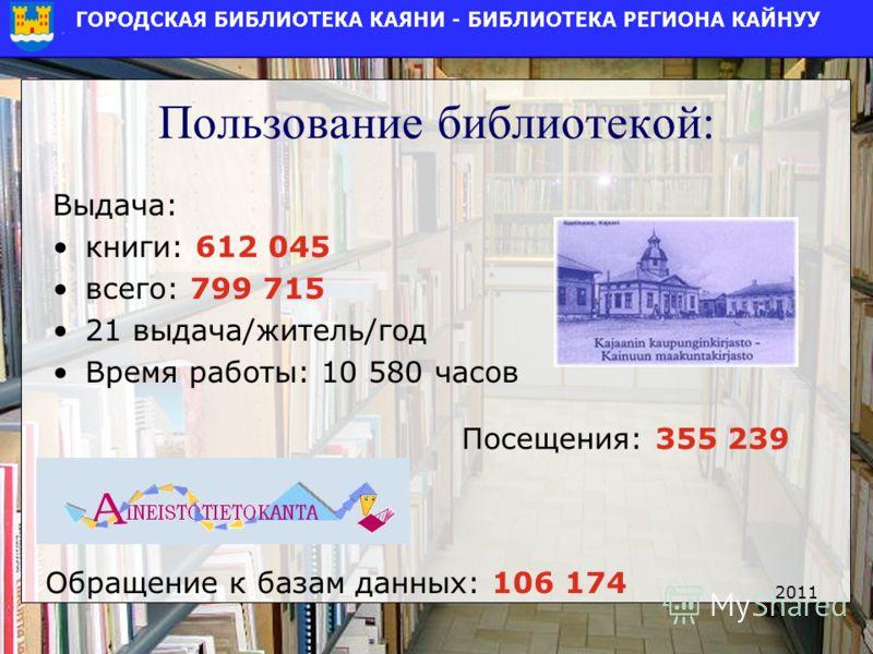 Пользование библиотекой: Выдача: книги: 612 045 всего: 799 715 21 выдача/житель/год Время работы: 10 580 часов 2011 Посещения: 355 239 Обращение к базам данных: 106 174