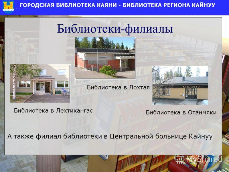 Библиотеки-филиалы Библиотека в Лохтая А также филиал библиотеки в Центральной больнице Кайнуу Библиотека в Лехтикангас Библиотека в Отанмяки