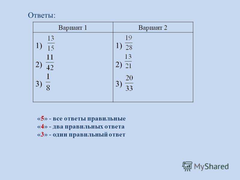 Вариант 1Вариант 2 1) 2) 3) 1) 2) 3) Ответы: «5» - все ответы правильные «4» - два правильных ответа «3» - один правильный ответ