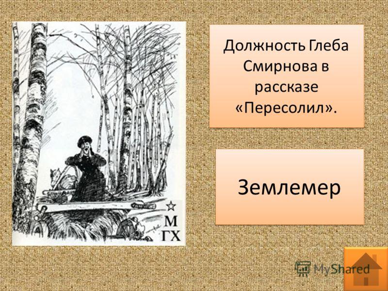 Должность Глеба Смирнова в рассказе «Пересолил». Землемер
