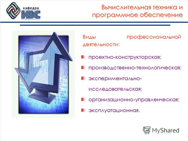 Вычислительная техника и программное обеспечение проектно-конструкторская;производственно-технологическая; экспериментально- исследовательская; организационно-управленческая;эксплуатационная. Виды профессиональной деятельности: