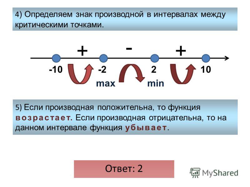 4 ) Определяем знак производной в интервалах между критическими точками. 5) Если производная положительна, то функция возрастает. Если производная отрицательна, то на данном интервале функция убывает. -1010-22 + - + maxmin Ответ: 2