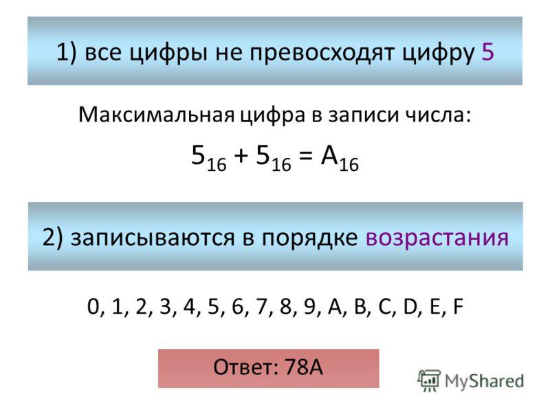 1) все цифры не превосходят цифру 5 Максимальная цифра в записи числа: 5 16 + 5 16 = А 16 2) записываются в порядке возрастания 0, 1, 2, 3, 4, 5, 6, 7, 8, 9, A, B, C, D, E, F Ответ: 78А
