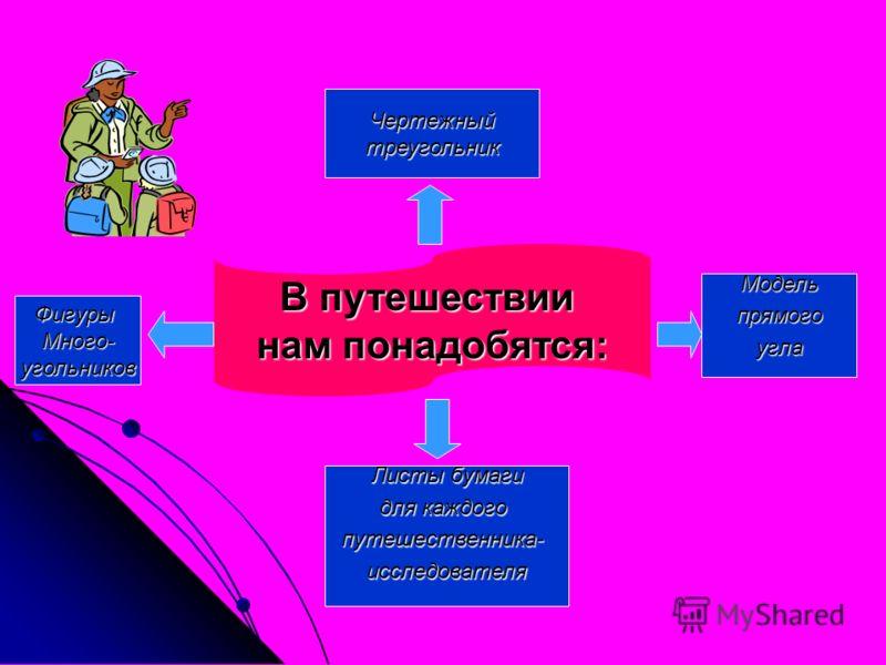 В путешествии нам понадобятся: Чертежныйтреугольник ФигурыМного-угольников Листы бумаги для каждого путешественника-исследователя Модель прямого прямогоугла
