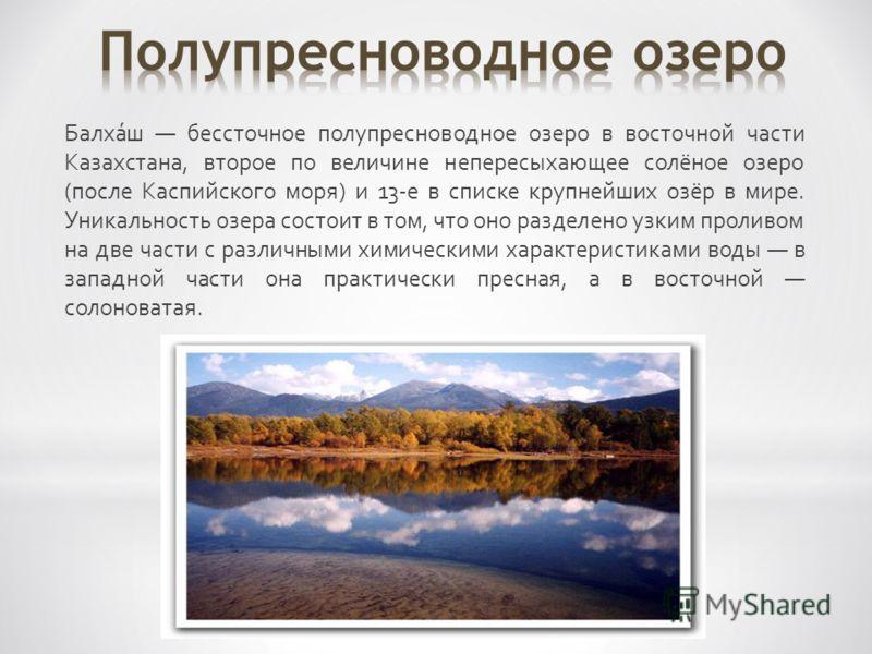 Балха́ш бессточное полупресноводное озеро в восточной части Казахстана, второе по величине непересыхающее солёное озеро (после Каспийского моря) и 13-е в списке крупнейших озёр в мире. Уникальность озера состоит в том, что оно разделено узким проливо