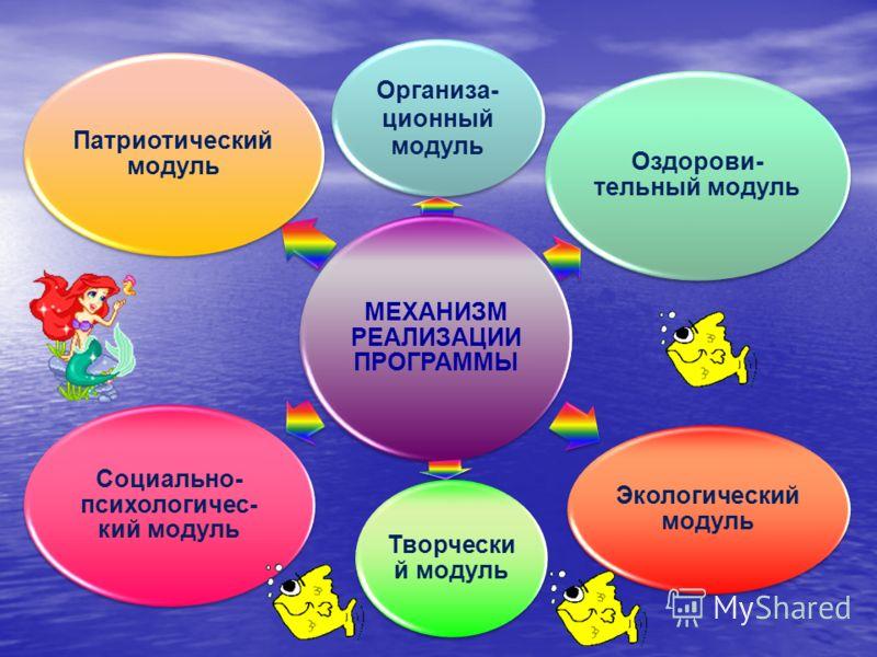 МЕХАНИЗМ РЕАЛИЗАЦИИ ПРОГРАММЫ Организа- ционный модуль Оздорови- тельный модуль Экологический модуль Творчески й модуль Социально- психологичес- кий модуль Патриотический модуль