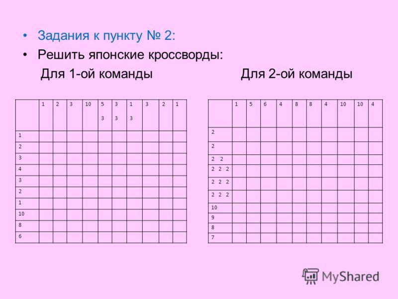 Задания к пункту 2: Решить японские кроссворды: Для 1-ой команды Для 2-ой команды 12310 5353 3333 1313 321 1 2 3 4 3 2 1 8 6 1564884 4 2 2 2 2 2 2 10 9 8 7