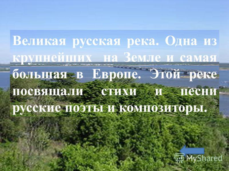 Великая русская река. Одна из крупнейших на Земле и самая большая в Европе. Этой реке посвящали стихи и песни русские поэты и композиторы.