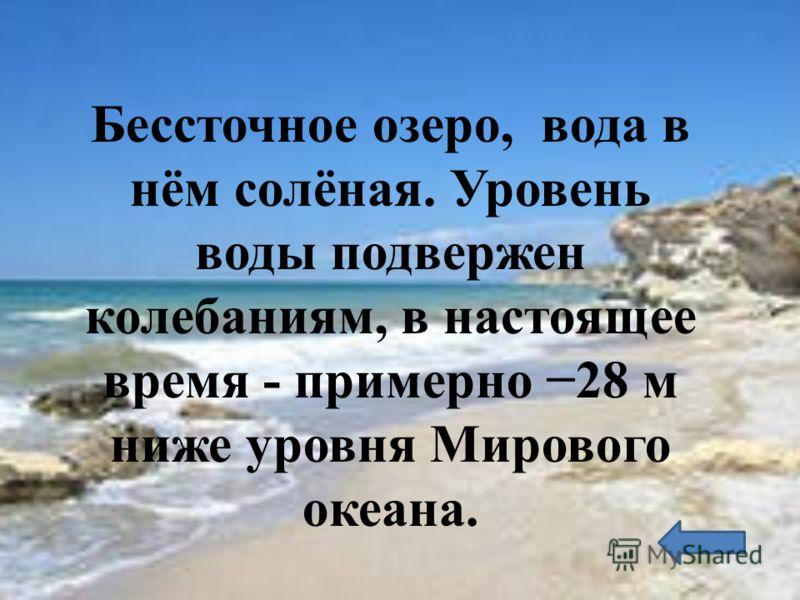 Бессточное озеро, вода в нём солёная. Уровень воды подвержен колебаниям, в настоящее время - примерно 28 м ниже уровня Мирового океана.