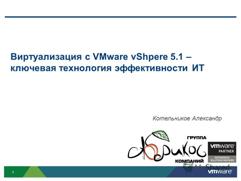 1 Виртуализация c VMware vShpere 5.1 – ключевая технология эффективности ИТ Котельников Александр