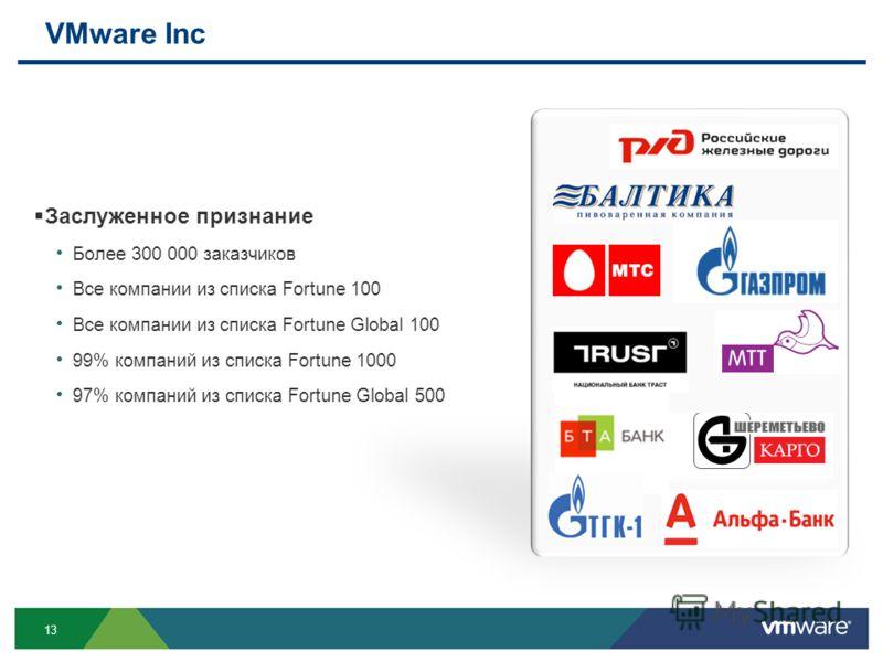 13 VMware Inc Заслуженное признание Более 300 000 заказчиков Все компании из списка Fortune 100 Все компании из списка Fortune Global 100 99% компаний из списка Fortune 1000 97% компаний из списка Fortune Global 500