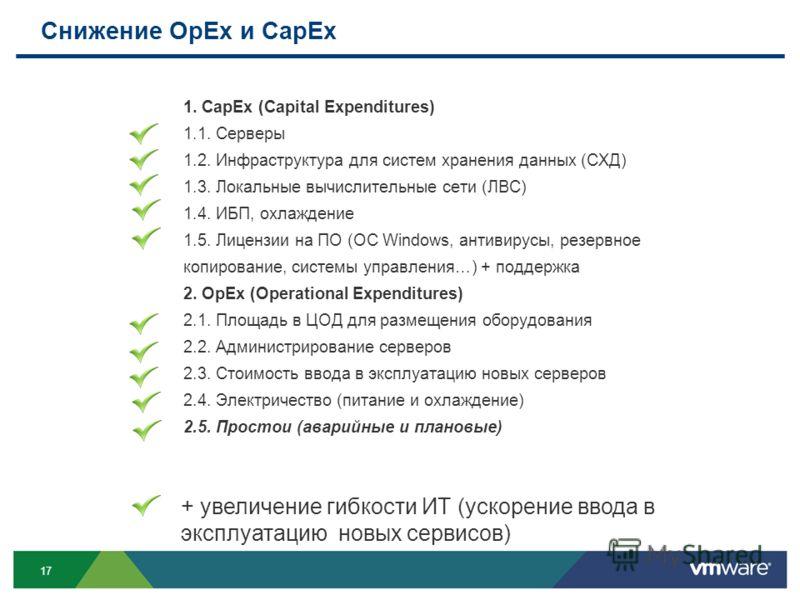 17 Снижение OpEx и CapEx 1. CapEx (Capital Expenditures) 1.1. Серверы 1.2. Инфраструктура для систем хранения данных (СХД) 1.3. Локальные вычислительные сети (ЛВС) 1.4. ИБП, охлаждение 1.5. Лицензии на ПО (ОС Windows, антивирусы, резервное копировани