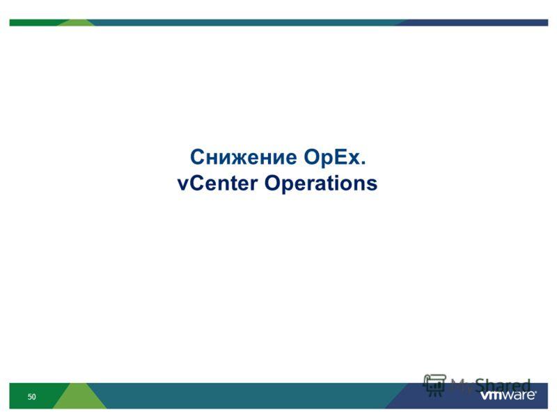 50 Снижение OpEx. vCenter Operations