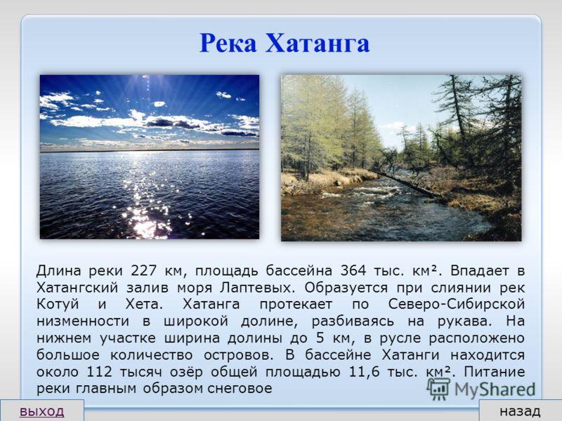 Река Хатанга Длина реки 227 км, площадь бассейна 364 тыс. км. Впадает в Хатангский залив моря Лаптевых. Образуется при слиянии рек Котуй и Хета. Хатанга протекает по Северо-Сибирской низменности в широкой долине, разбиваясь на рукава. На нижнем участ