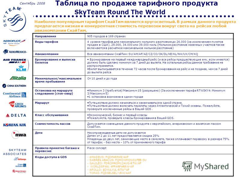 Таблица по продаже тарифного продукта SkyTeam Round The World Наиболее популярным тарифом СкайТим является кругосветный. В рамках данного продукта предлагается низкая и конкурентная стоимость перевозки вокруг света на рейсах любой авиакомпании СкайТи