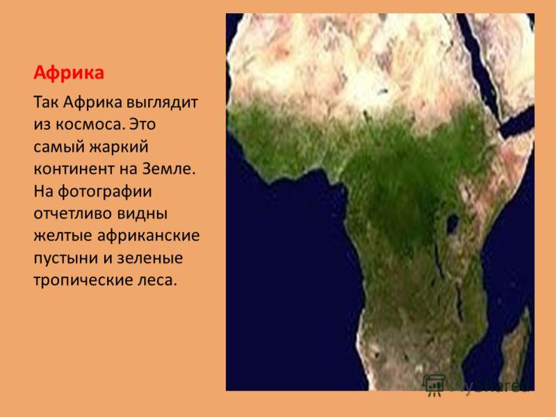 Африка Так Африка выглядит из космоса. Это самый жаркий континент на Земле. На фотографии отчетливо видны желтые африканские пустыни и зеленые тропические леса.