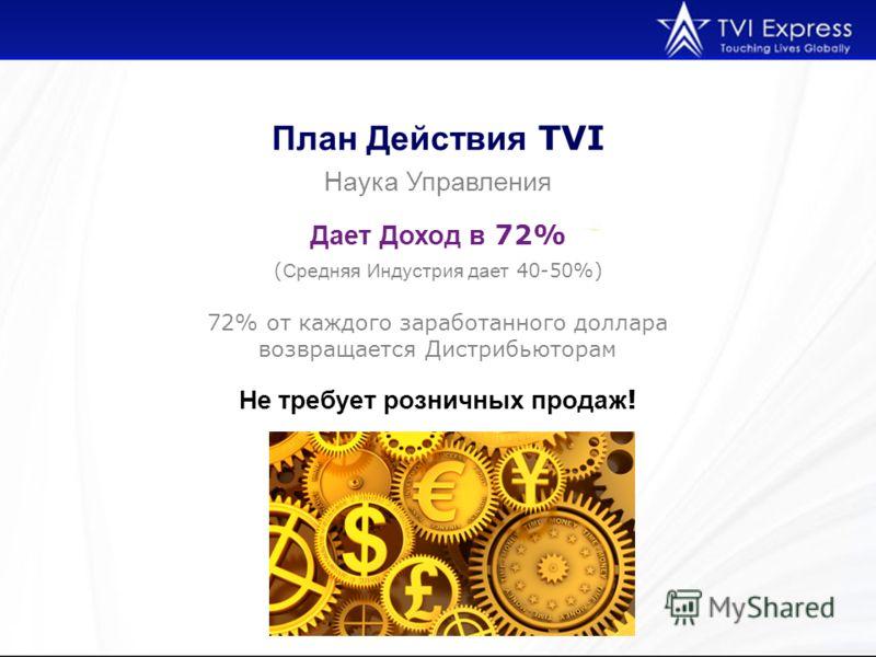 План Действия TVI Наука Управления ( Средняя Индустрия дает 40-50%) Дает Доход в 72% 72% от каждого заработанного доллара возвращается Дистрибьюторам Не требует розничных продаж !
