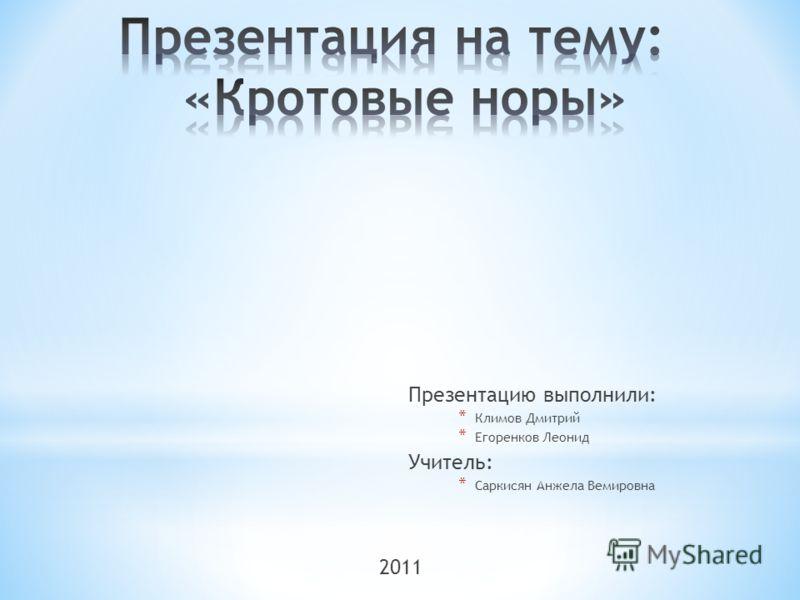 Презентацию выполнили: * Климов Дмитрий * Егоренков Леонид Учитель: * Саркисян Анжела Вемировна 2011