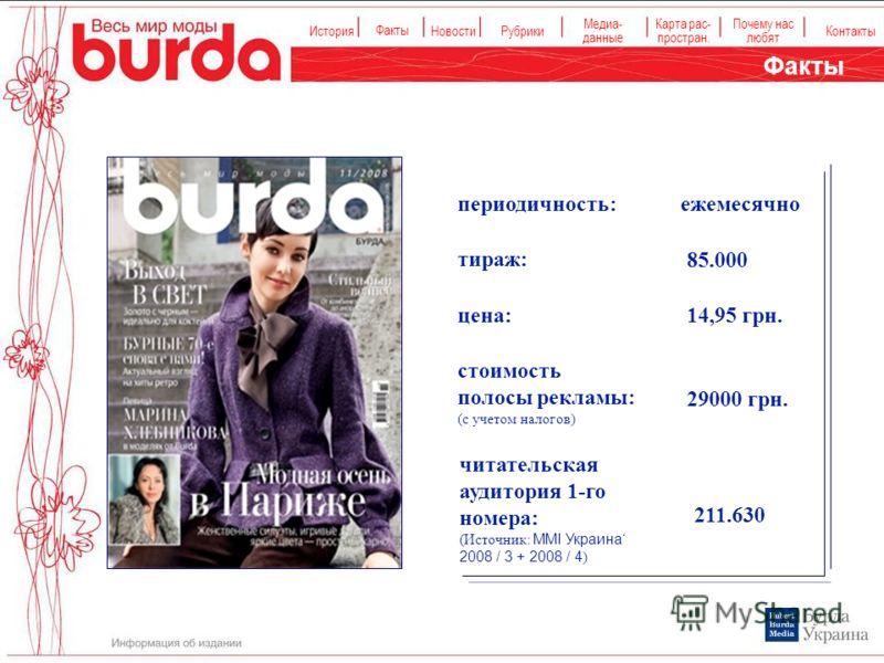 История Факты НовостиРубрики Медиа- данные Карта рас- простран. Контакты Почему нас любят цена: 14,95 грн. стоимость полосы рекламы: (с учетом налогов) тираж: 85.000 читательская аудитория 1-го номера: (Источник: MMI Украина 2008 / 3 + 2008 / 4 ) 211