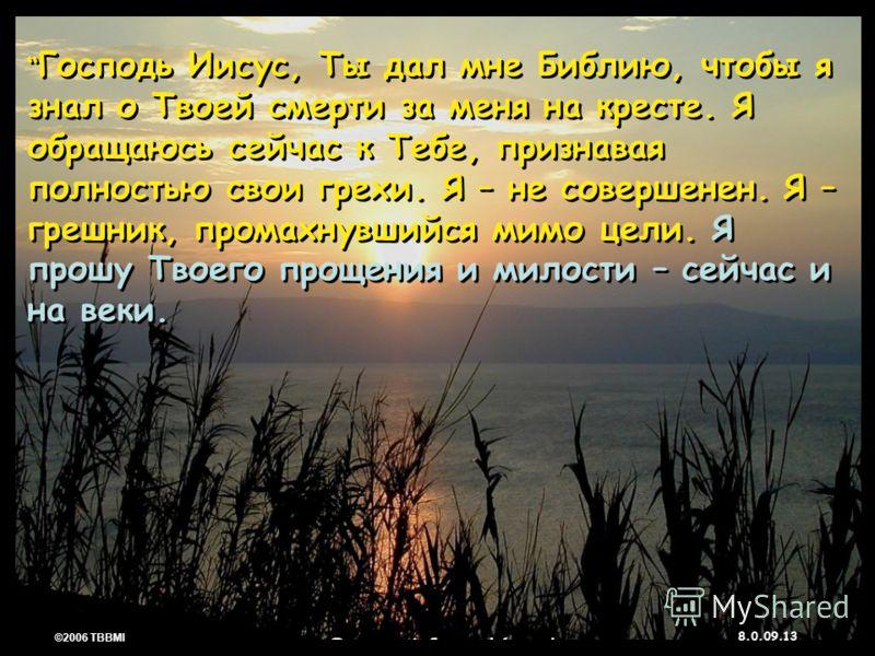 © 2006 TBBMI 8.0.09. 13 ©2006 TBBMI 8.0.09. Господь Иисус, Ты дал мне Библию, чтобы я знал о Твоей смерти за меня на кресте. Я обращаюсь сейчас к Тебе, признавая полностью свои грехи. Я – не совершенен. Я – грешник, промахнувшийся мимо цели. Я прошу