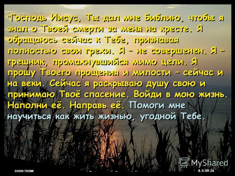 © 2006 TBBMI 8.0.09. 16 ©2006 TBBMI 8.0.09. Господь Иисус, Ты дал мне Библию, чтобы я знал о Твоей смерти за меня на кресте. Я обращаюсь сейчас к Тебе, признавая полностью свои грехи. Я – не совершенен. Я – грешник, промахнувшийся мимо цели. Я прошу