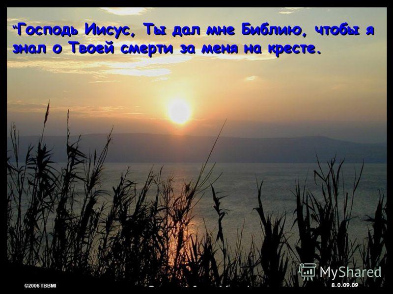 © 2006 TBBMI 8.0.09. 09 ©2006 TBBMI 8.0.09. Господь Иисус, Ты дал мне Библию, чтобы я знал о Твоей смерти за меня на кресте.