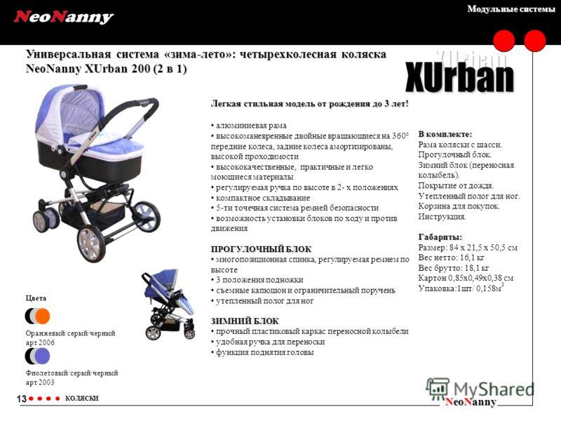 Модульные системы Универсальная система «зима-лето»: четырехколесная коляска NeoNanny XUrban 200 (2 в 1) NeoNanny КОЛЯСКИ Цвета Оранжевый/серый/черный арт 2006 Фиолетовый/серый/черный арт 2003 13 XUrban Легкая стильная модель от рождения до 3 лет! ал