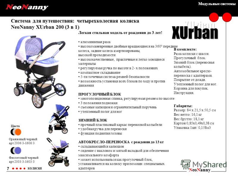 Модульные системы Система для путешествия: четырехколесная коляска NeoNanny XUrban 200 (3 в 1) NeoNanny КОЛЯСКИ Цвета Оранжевый/черный арт 2006/3-1606/3 Фиолетовый/черный арт 2003/3-1603/3 7 XUrban Легкая стильная модель от рождения до 3 лет! алюмини