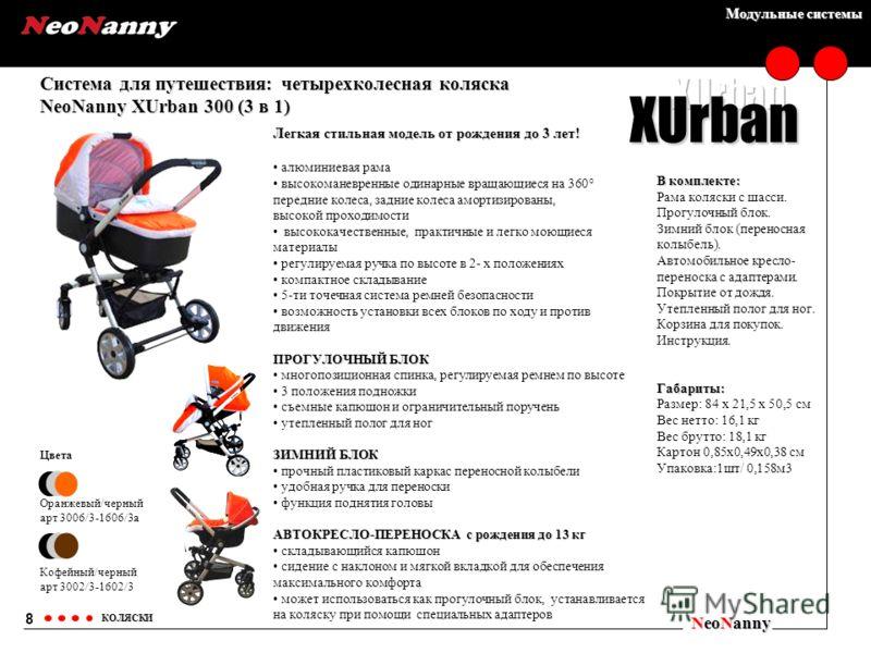 Модульные системы Система для путешествия: четырехколесная коляска NeoNanny XUrban 300 (3 в 1) NeoNanny КОЛЯСКИ Цвета Оранжевый/черный арт 3006/3-1606/3а Кофейный/черный арт 3002/3-1602/3 8 XUrban В комплекте: Рама коляски с шасси. Прогулочный блок.