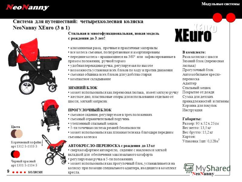Модульные системы Система для путешествий: четырехколесная коляска NeoNanny XEuro (3 в 1) NeoNanny КОЛЯСКИ Цвета Коричневый/кофейный арт 1312/3-1103/3 Черный/красный арт 1301/3-1104/3 9 XEuro Стильная и многофункциональная, новая модель с рождения до