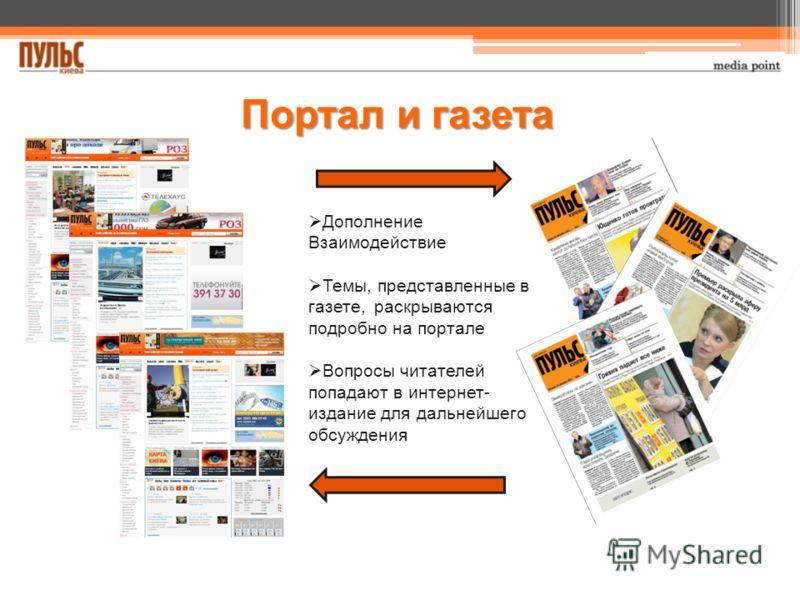 Портал и газета Дополнение Взаимодействие Темы, представленные в газете, раскрываются подробно на портале Вопросы читателей попадают в интернет- издание для дальнейшего обсуждения