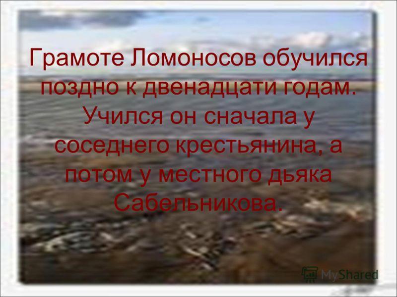 Грамоте Ломоносов обучился поздно к двенадцати годам. Учился он сначала у соседнего крестьянина, а потом у местного дьяка Сабельникова.