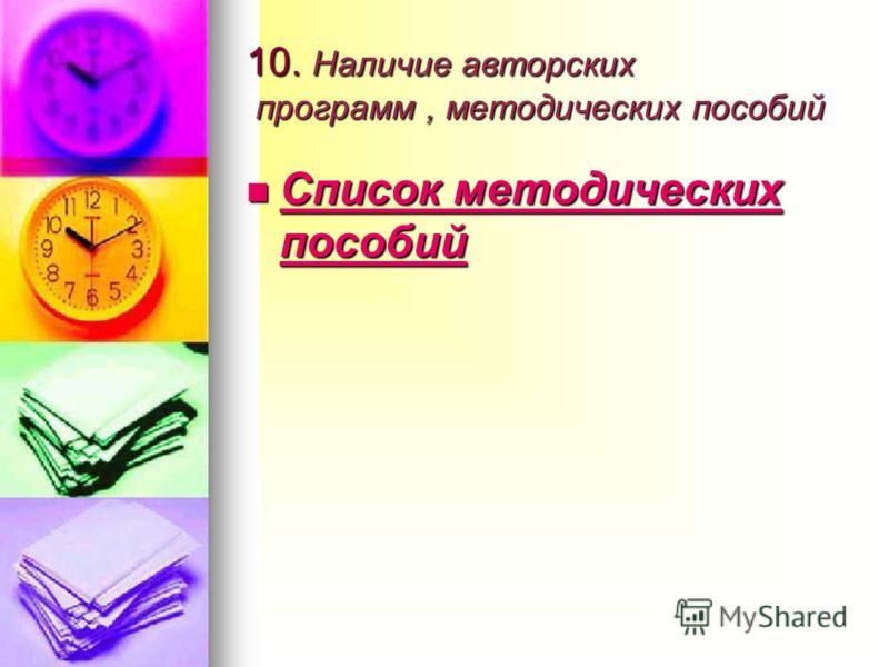10. Наличие авторских программ, методических пособий Список методических пособий Список методических пособий Список методических пособий Список методических пособий