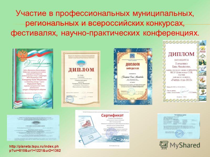 Участие в профессиональных муниципальных, региональных и всероссийских конкурсах, фестивалях, научно-практических конференциях. http://planeta.tspu.ru/index.ph p?ur=810&ur1=1221&ur2=1362