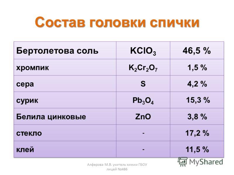 Состав головки спички Алферова М.В. учитель химии ГБОУ лицей 486