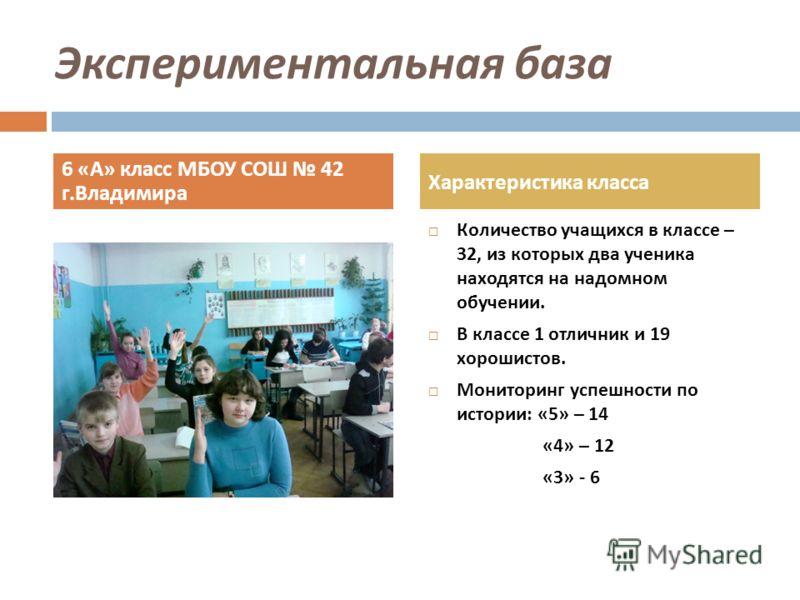 Экспериментальная база Количество учащихся в классе – 32, из которых два ученика находятся на надомном обучении. В классе 1 отличник и 19 хорошистов. Мониторинг успешности по истории : «5» – 14 «4» – 12 «3» - 6 6 « А » класс МБОУ СОШ 42 г. Владимира
