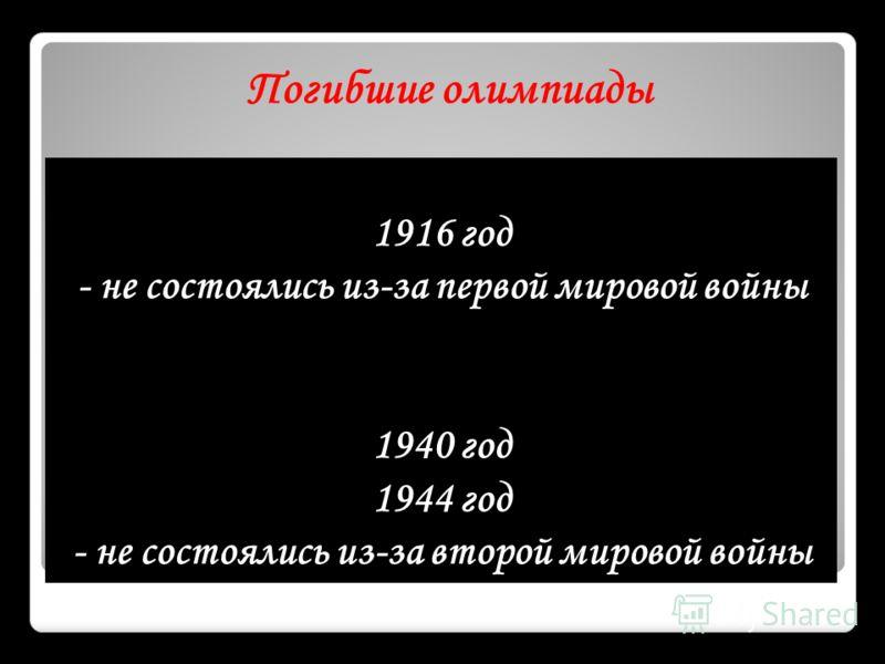 1916 год - не состоялись из-за первой мировой войны 1940 год 1944 год - не состоялись из-за второй мировой войны Погибшие олимпиады