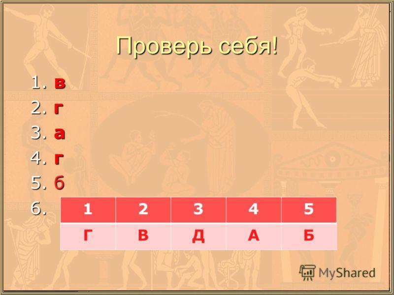 Проверь себя! 1. в 1. в 2. г 2. г 3. а 3. а 4. г 4. г 5. б 5. б 6. 6. 12345 ГВДАБ