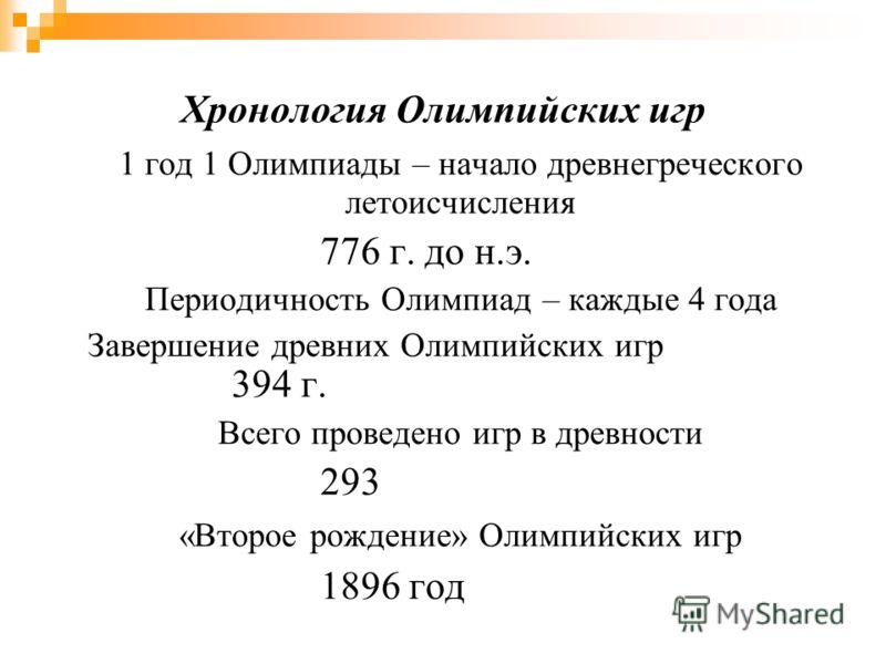 Хронология Олимпийских игр 1 год 1 Олимпиады – начало древнегреческого летоисчисления 776 г. до н.э. Периодичность Олимпиад – каждые 4 года Завершение древних Олимпийских игр 394 г. Всего проведено игр в древности 293 «Второе рождение» Олимпийских иг
