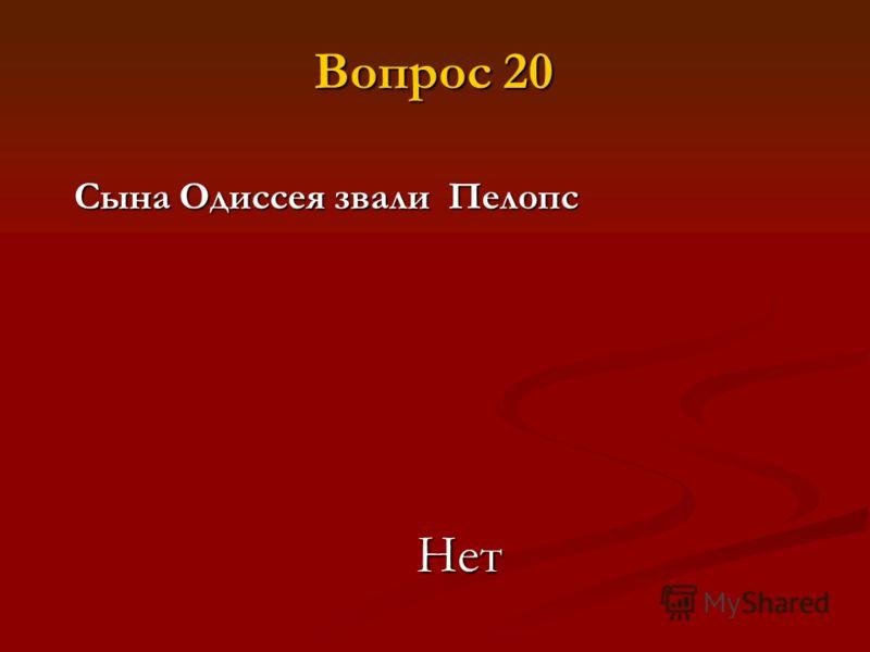 Сына Одиссея звали Пелопс Нет Вопрос 20