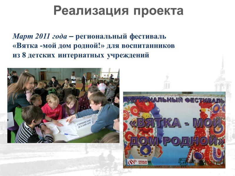 Реализация проекта Март 2011 года – региональный фестиваль «Вятка -мой дом родной!» для воспитанников из 8 детских интернатных учреждений