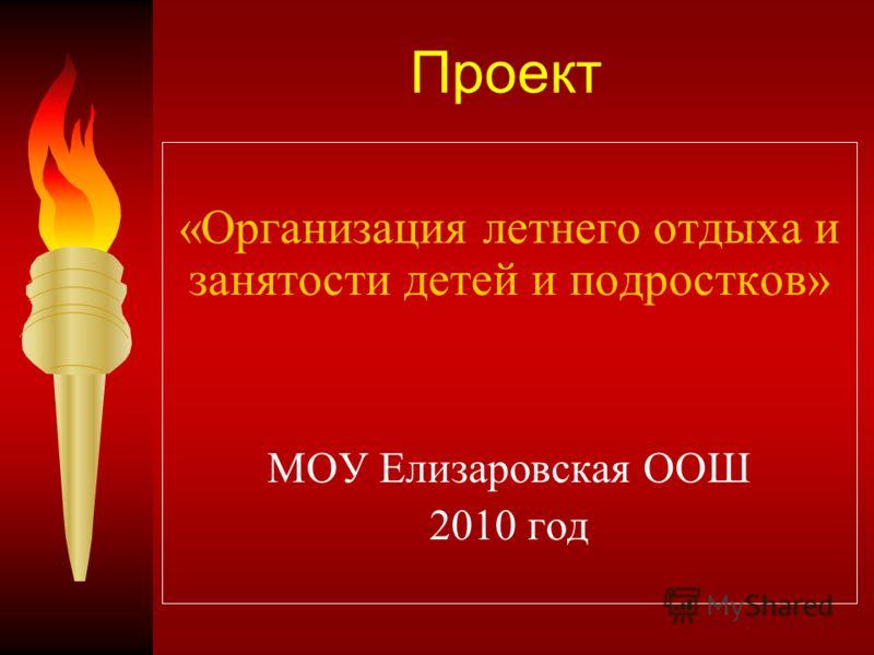 Проект «Организация летнего отдыха и занятости детей и подростков» МОУ Елизаровская ООШ 2010 год
