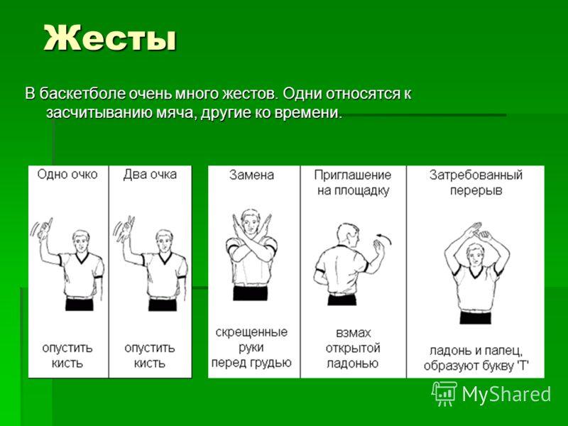Жесты В баскетболе очень много жестов. Одни относятся к засчитыванию мяча, другие ко времени.