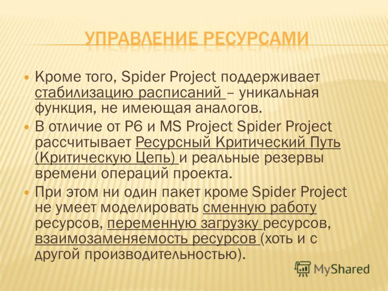 Кроме того, Spider Project поддерживает стабилизацию расписаний – уникальная функция, не имеющая аналогов. В отличие от P6 и MS Project Spider Project рассчитывает Ресурсный Критический Путь (Критическую Цепь) и реальные резервы времени операций прое