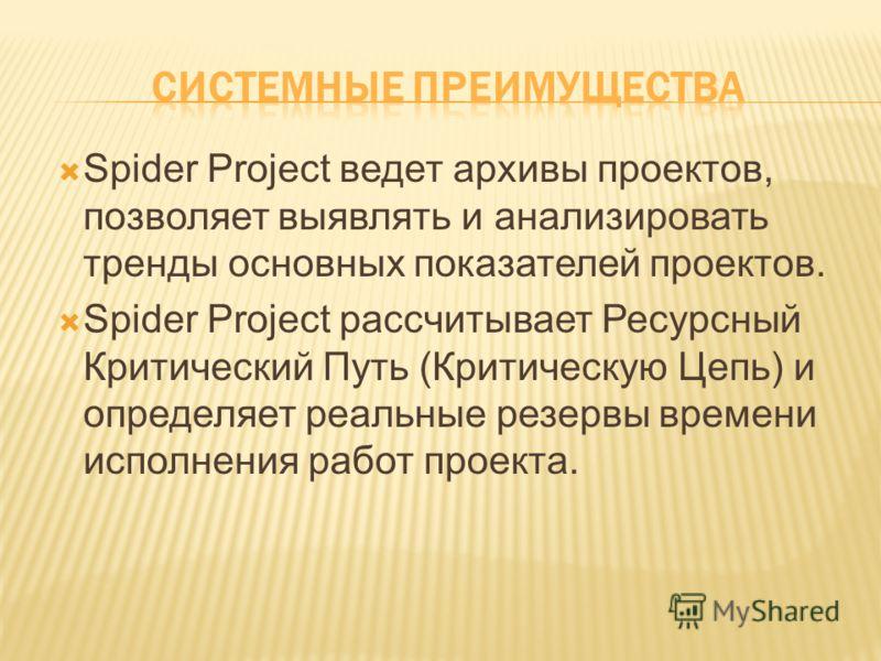 Spider Project ведет архивы проектов, позволяет выявлять и анализировать тренды основных показателей проектов. Spider Project рассчитывает Ресурсный Критический Путь (Критическую Цепь) и определяет реальные резервы времени исполнения работ проекта.