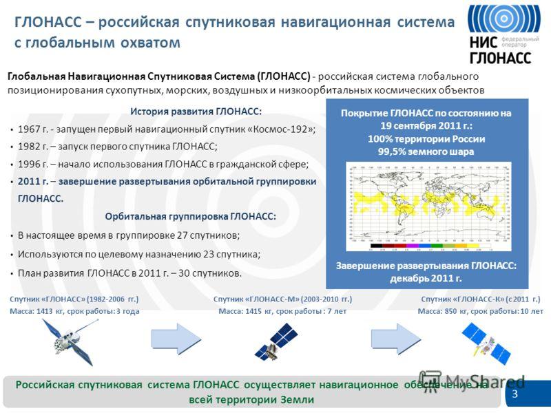 3 Покрытие ГЛОНАСС по состоянию на 19 сентября 2011 г.: 100% территории России 99,5% земного шара История развития ГЛОНАСС: 1967 г. - запущен первый навигационный спутник «Космос-192»; 1982 г. – запуск первого спутника ГЛОНАСС; 1996 г. – начало испол